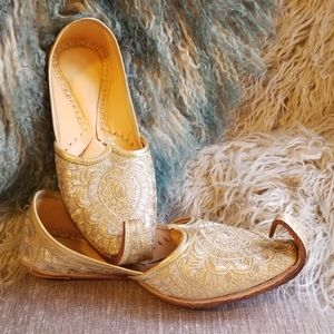 Golden embroidered hand made jutti shoes